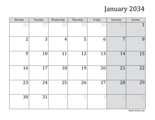 The 2034 Monthly Calendar with Monday as the First Day Math Worksheet