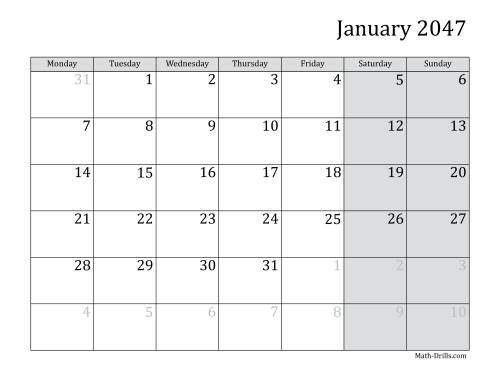 The 2047 Monthly Calendar with Monday as the First Day Math Worksheet