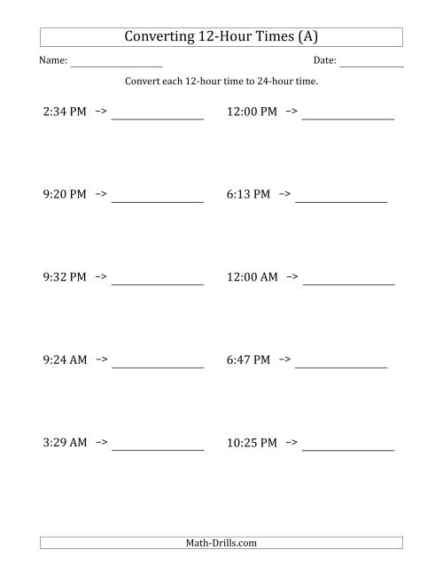 The Converting From 12-Hour to 24-Hour Times (A) Math Worksheet