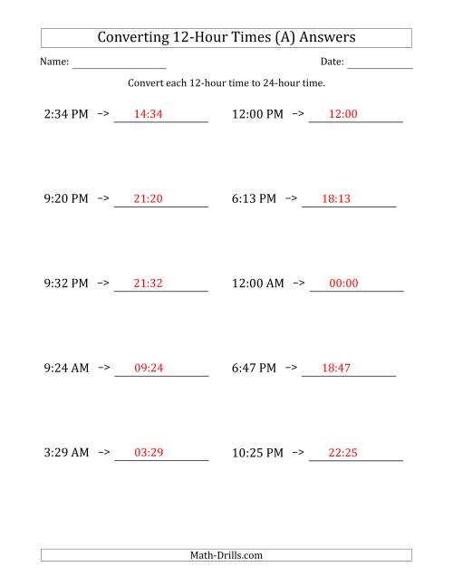 The Converting From 12-Hour to 24-Hour Times (A) Math Worksheet Page 2