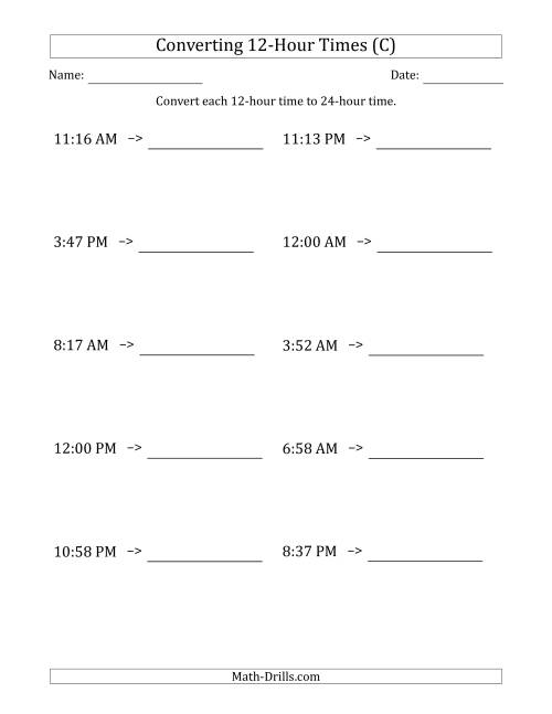 The Converting From 12-Hour to 24-Hour Times (C) Math Worksheet
