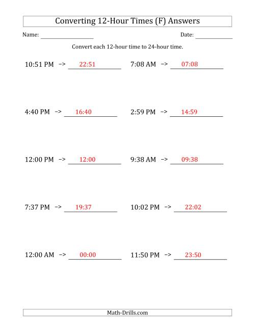 The Converting From 12-Hour to 24-Hour Times (F) Math Worksheet Page 2
