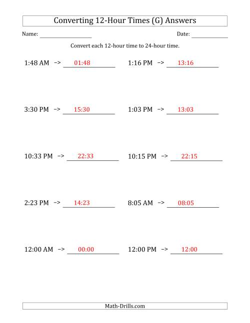 The Converting From 12-Hour to 24-Hour Times (G) Math Worksheet Page 2