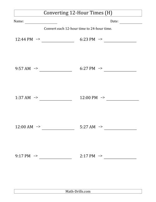 The Converting From 12-Hour to 24-Hour Times (H) Math Worksheet