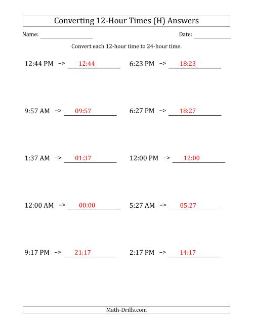 The Converting From 12-Hour to 24-Hour Times (H) Math Worksheet Page 2