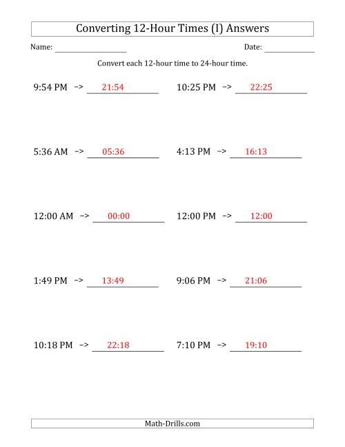 The Converting From 12-Hour to 24-Hour Times (I) Math Worksheet Page 2