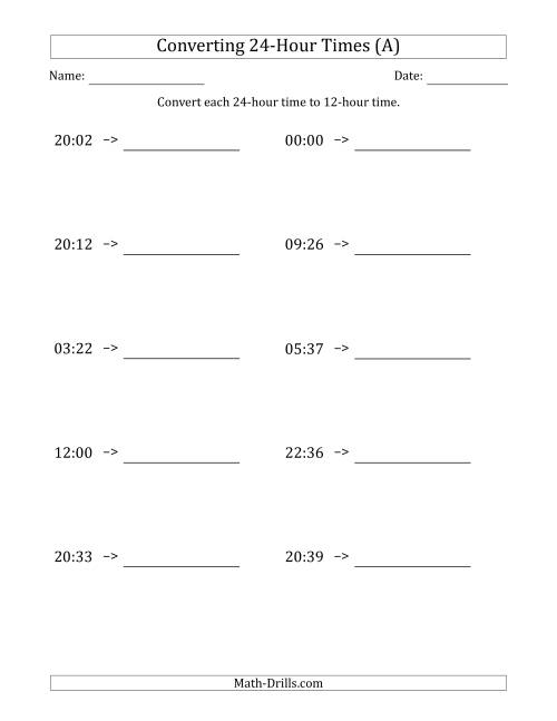 The Converting From 24-Hour to 12-Hour Times (A) Math Worksheet