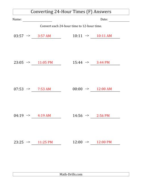 The Converting From 24-Hour to 12-Hour Times (F) Math Worksheet Page 2