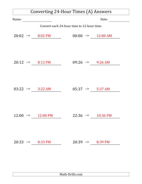 The Converting From 24-Hour to 12-Hour Times (All) Math Worksheet Page 2