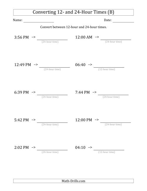 The Converting Between 12-Hour and 24-Hour Times (B) Math Worksheet