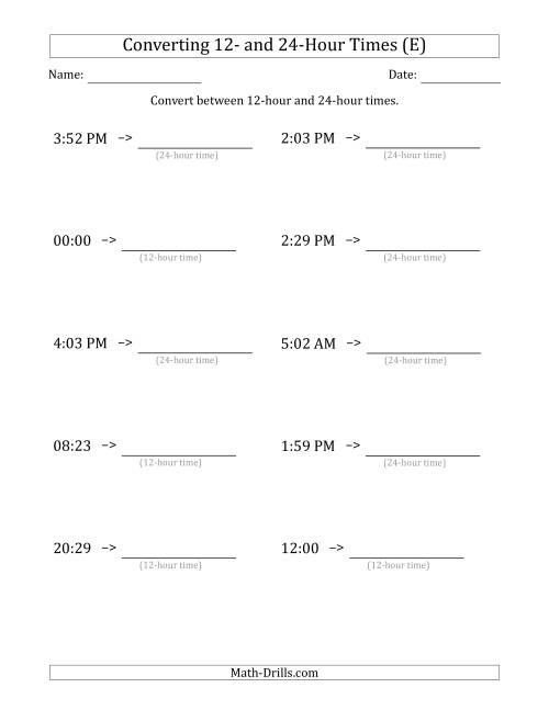 The Converting Between 12-Hour and 24-Hour Times (E) Math Worksheet