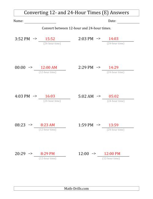 The Converting Between 12-Hour and 24-Hour Times (E) Math Worksheet Page 2