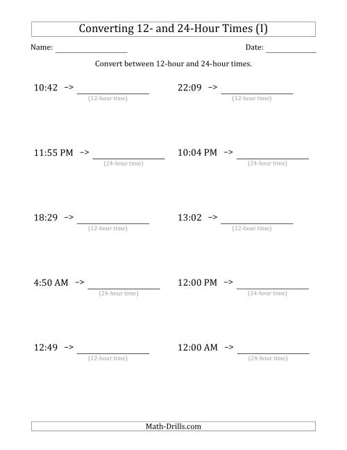 The Converting Between 12-Hour and 24-Hour Times (I) Math Worksheet