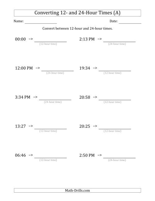 The Converting Between 12-Hour and 24-Hour Times (All) Math Worksheet