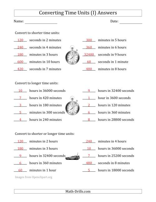 The Converting Between Time Units Including Seconds, Minutes and Hours (One or Two Steps Up or Down) (I) Math Worksheet Page 2