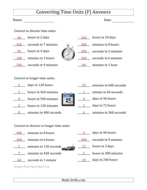 The Converting Between Time Units Including Seconds, Minutes, Hours and Days (One Step Up or Down) (F) Math Worksheet Page 2