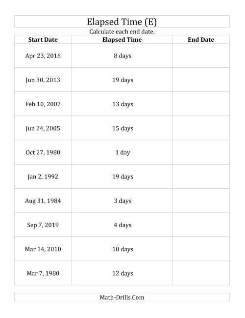 The Calculating the End Date From the Start Date and Elapsed Time in Days (E) Math Worksheet