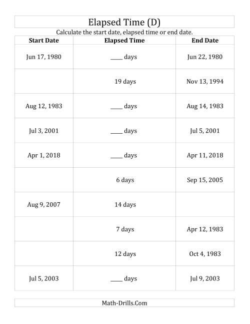 The Calculating Various Start Dates, Elapsed Times and End Dates in Days (D) Math Worksheet