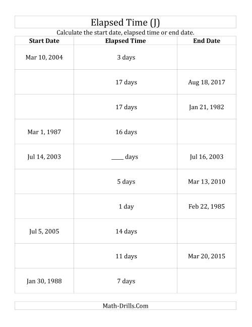 The Calculating Various Start Dates, Elapsed Times and End Dates in Days (J) Math Worksheet
