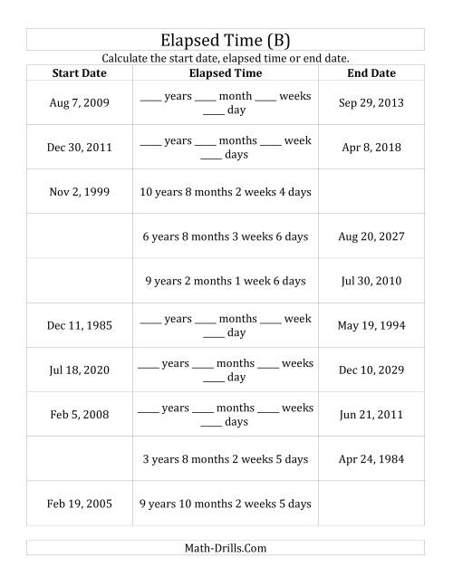 The Calculating Various Start Dates, Elapsed Times and End Dates in Days, Weeks, Months and Years (B) Math Worksheet