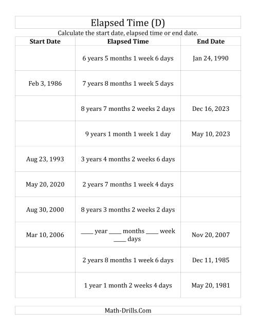 The Calculating Various Start Dates, Elapsed Times and End Dates in Days, Weeks, Months and Years (D) Math Worksheet