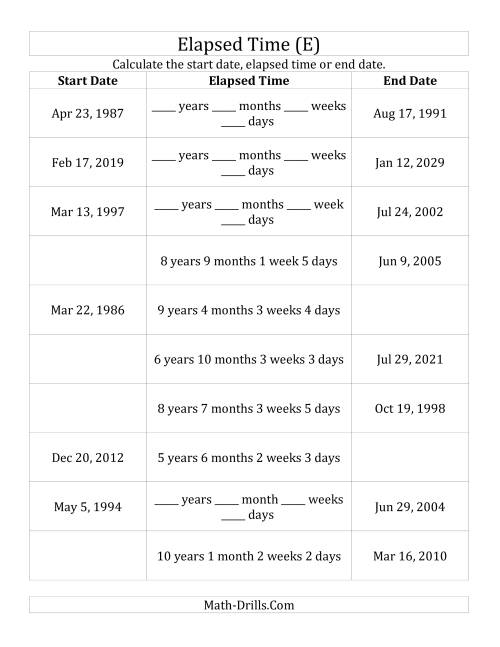 The Calculating Various Start Dates, Elapsed Times and End Dates in Days, Weeks, Months and Years (E) Math Worksheet