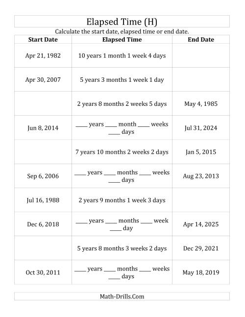 The Calculating Various Start Dates, Elapsed Times and End Dates in Days, Weeks, Months and Years (H) Math Worksheet