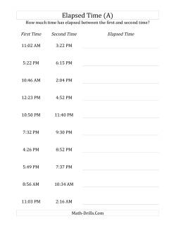 elapsed time with 1 minute intervals max 5 hours - Elapsed Time Worksheet