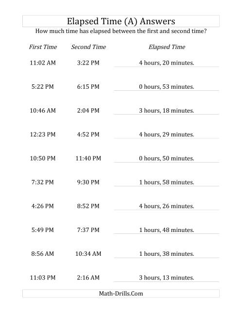 The Elapsed Time up to 5 Hours in 1 Minute Intervals (A) Math Worksheet Page 2