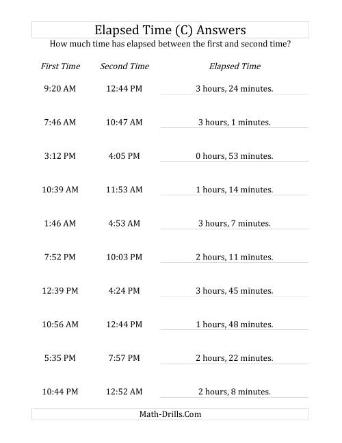 The Elapsed Time up to 5 Hours in 1 Minute Intervals (C) Math Worksheet Page 2