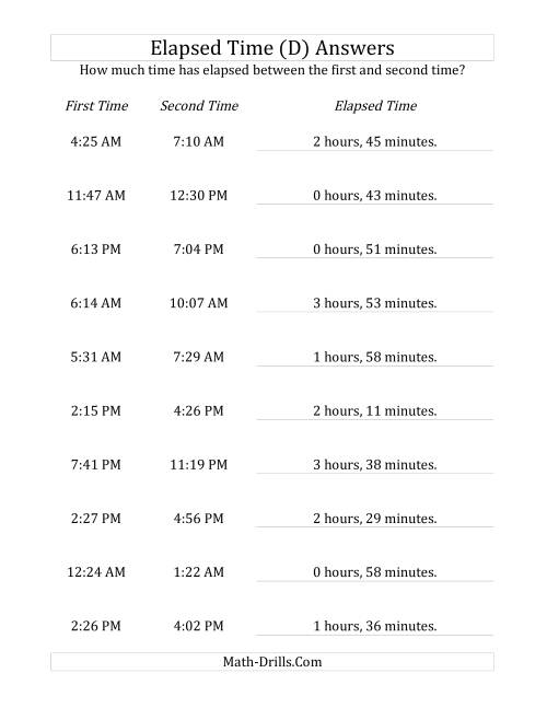 The Elapsed Time up to 5 Hours in 1 Minute Intervals (D) Math Worksheet Page 2