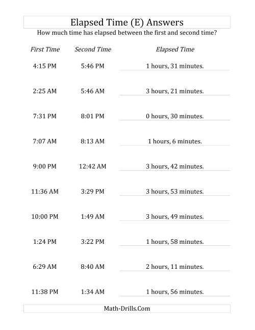 The Elapsed Time up to 5 Hours in 1 Minute Intervals (E) Math Worksheet Page 2