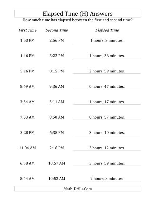 The Elapsed Time up to 5 Hours in 1 Minute Intervals (H) Math Worksheet Page 2