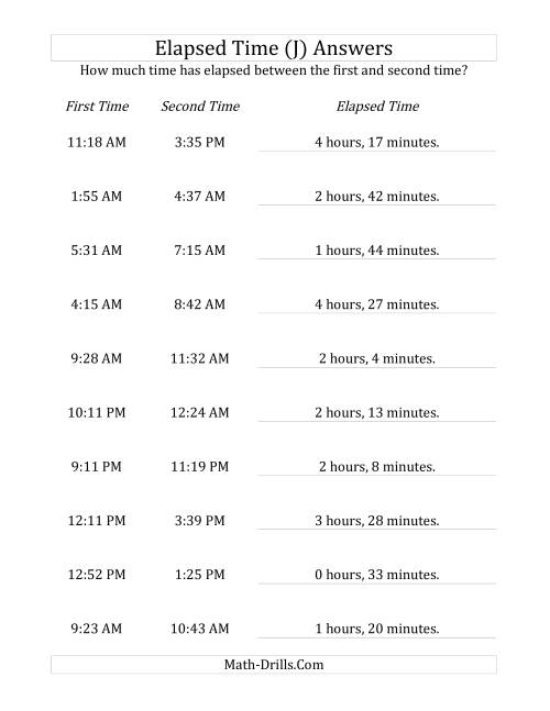 The Elapsed Time up to 5 Hours in 1 Minute Intervals (J) Math Worksheet Page 2