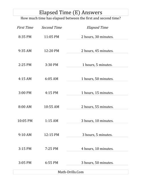 The Elapsed Time up to 5 Hours in 5 Minute Intervals (E) Math Worksheet Page 2