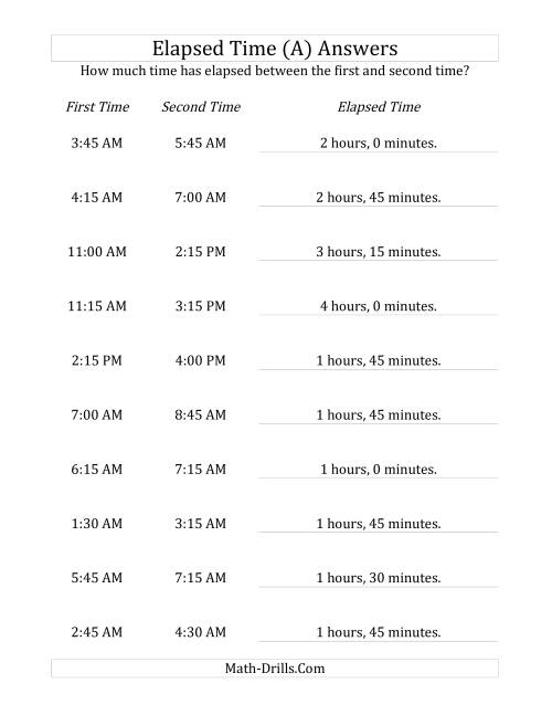 The Elapsed Time up to 5 Hours in 15 Minute Intervals (A) Math Worksheet Page 2