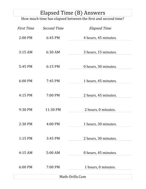 The Elapsed Time up to 5 Hours in 15 Minute Intervals (B) Math Worksheet Page 2