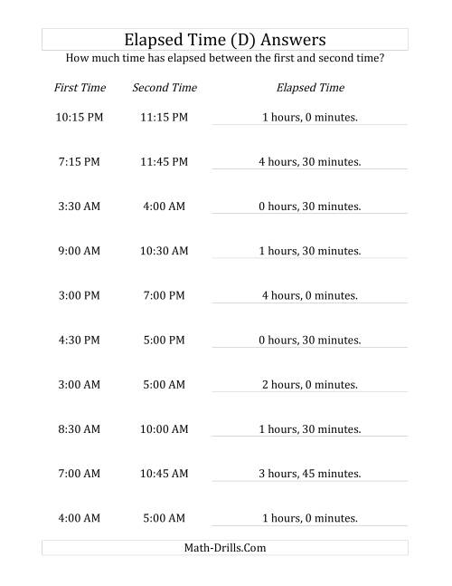 The Elapsed Time up to 5 Hours in 15 Minute Intervals (D) Math Worksheet Page 2
