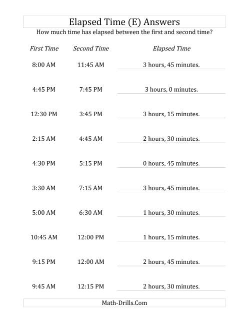 The Elapsed Time up to 5 Hours in 15 Minute Intervals (E) Math Worksheet Page 2