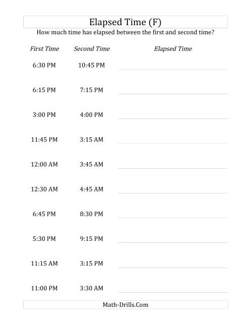 The Elapsed Time up to 5 Hours in 15 Minute Intervals (F) Math Worksheet