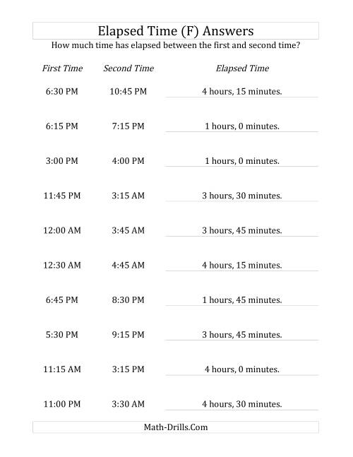 The Elapsed Time up to 5 Hours in 15 Minute Intervals (F) Math Worksheet Page 2