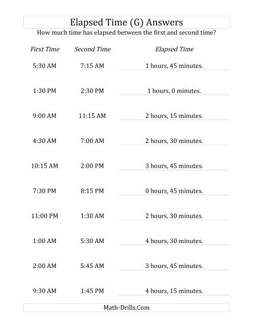 The Elapsed Time up to 5 Hours in 15 Minute Intervals (G) Math Worksheet Page 2