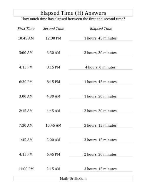 The Elapsed Time up to 5 Hours in 15 Minute Intervals (H) Math Worksheet Page 2
