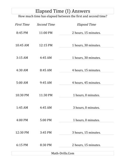 The Elapsed Time up to 5 Hours in 15 Minute Intervals (I) Math Worksheet Page 2