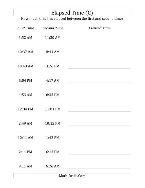The Elapsed Time up to 24 Hours in 1 Minute Intervals (C) Math Worksheet