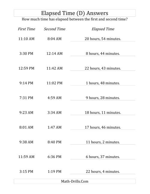 The Elapsed Time up to 24 Hours in 1 Minute Intervals (D) Math Worksheet Page 2