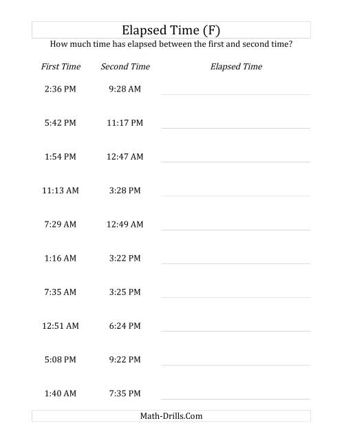 The Elapsed Time up to 24 Hours in 1 Minute Intervals (F) Math Worksheet
