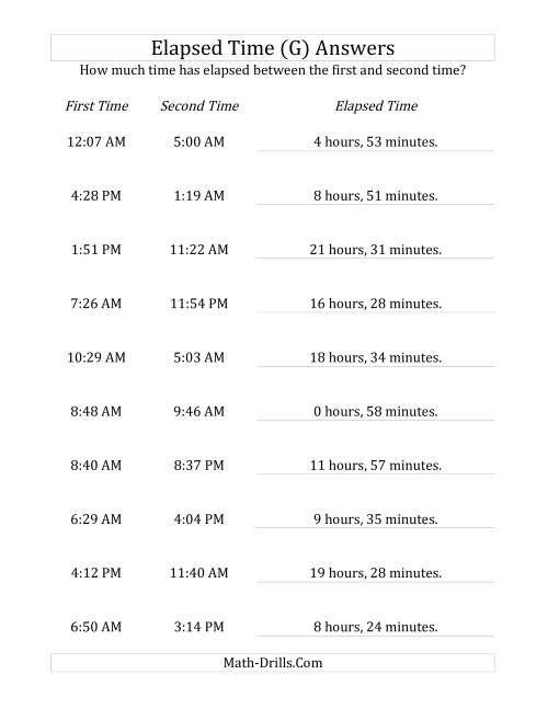 The Elapsed Time up to 24 Hours in 1 Minute Intervals (G) Math Worksheet Page 2