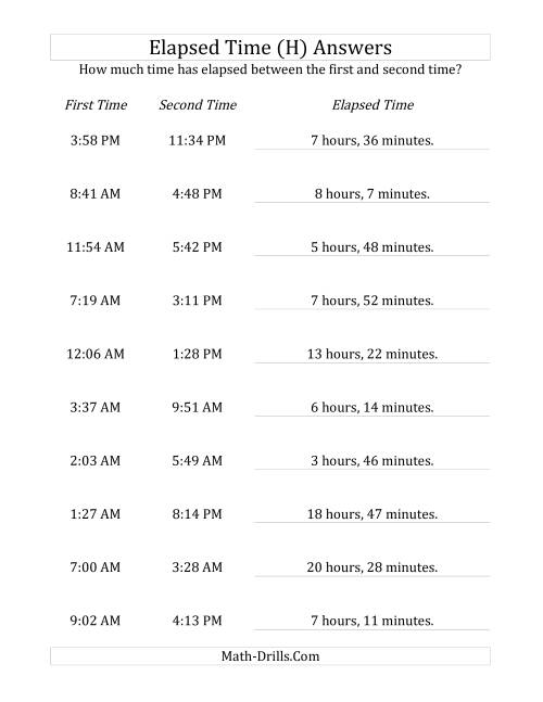 The Elapsed Time up to 24 Hours in 1 Minute Intervals (H) Math Worksheet Page 2