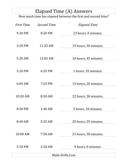 The Elapsed Time up to 24 Hours in 5 Minute Intervals (A) Math Worksheet Page 2